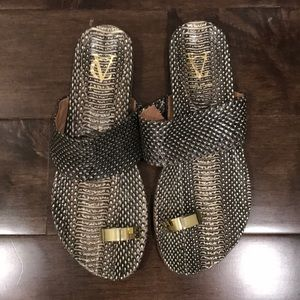 Faux snakeskin leather sandals